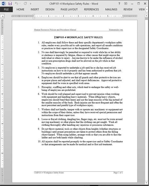 workplace safety templates workplace safety guide template
