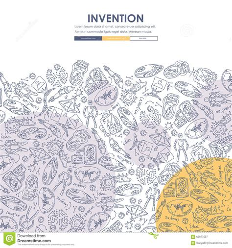 doodle 4 my invention invention doodle website template design stock vector