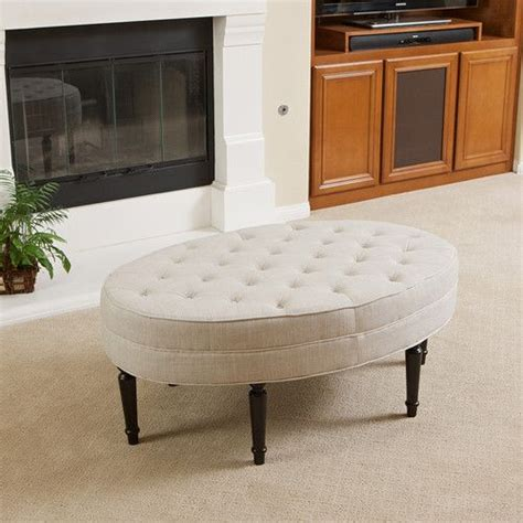 tufted upholstered ottoman coffee table tufted top linen upholstered oval ottoman coffee table w