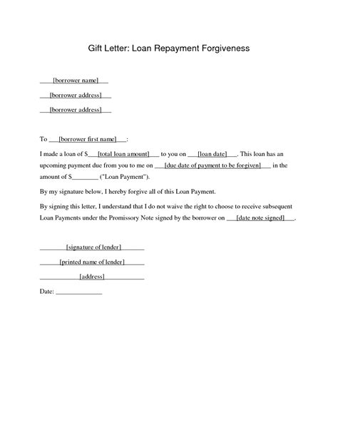 Mortgage Forgiveness Letter Free Downloadable Agreement Letter Sles For Loan Vlcpeque