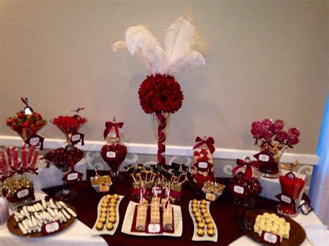 cute opera themes maroon white and gold graduation candy buffet table