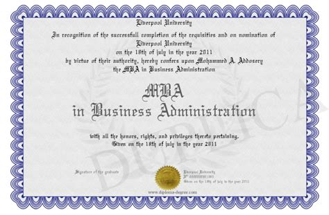 Bs Mba Diploma by Mba In Business Administration