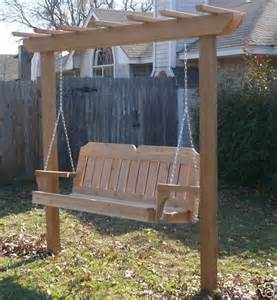 porch swing with stand new cedar wood garden arbor 5 ft porch swing stand heavy duty chain springs gardens the