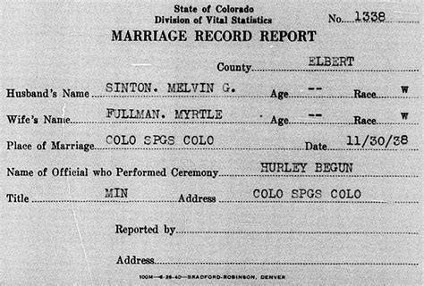 Colorado Springs Marriage Records Sinton Family Trees Details Of Myrtle Nelson Born 1903 Died 1975