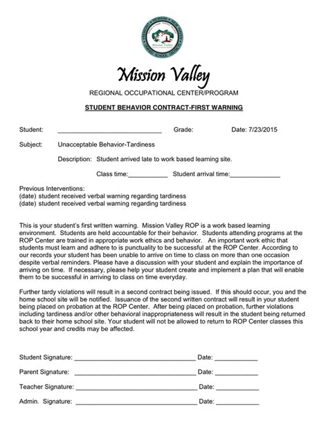 Student Contract Template by Student Behavior Contract In Word And Pdf Formats