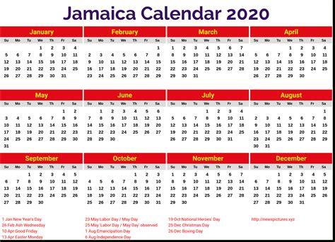 jamaica public holidays  printable  calendar printable