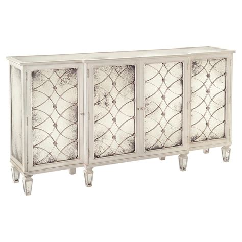 white mirrored buffet cabinet bonet hollywood regency grillwork antique white mirrored
