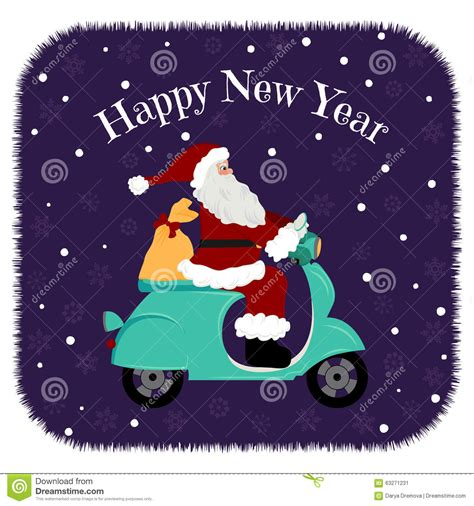 Gift Cards Delivered By Christmas - lovely christmas card santa driving motorcycle delivery the gifts stock vector