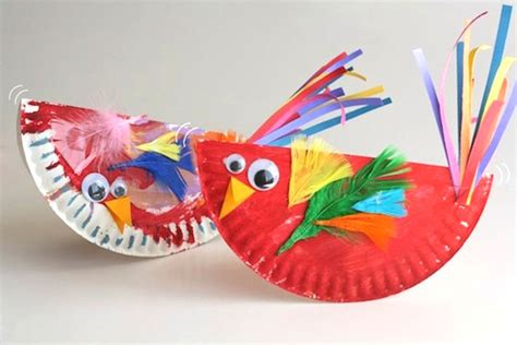 Paper Plate Bird Craft - paper plate craft rocking birdies play cbc parents