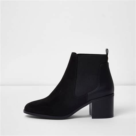 black block heel ankle chelsea boots boots shoes