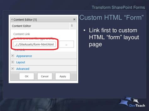 javascript page layout sharepoint transform sharepoint default list forms with html css and