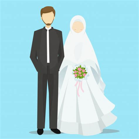 Muslim Wedding Vector by Muslim And Groom Characters Illustration