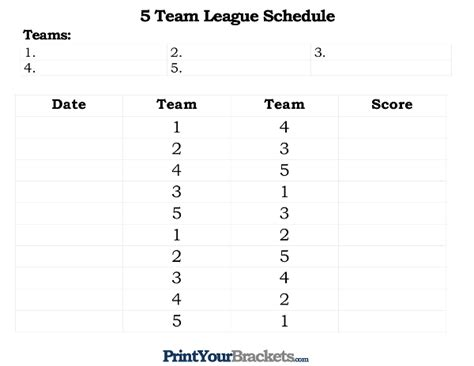 5 team league schedule template printable 5 team league schedule