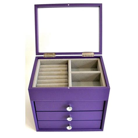 jewelry box wood with 3 drawers