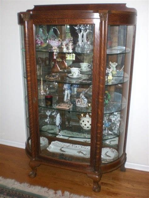Large Antique Curved Glass Mirrored Back Tiger Oak China Cabinet