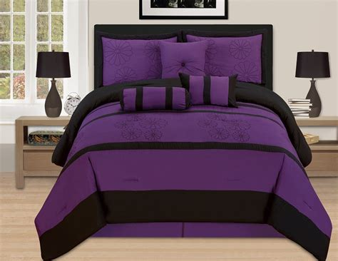 purple queen bed set purple black queen oversize comforter set 7 piece bedding