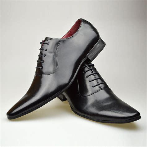 mens fashion new black leather shoes formal smart dress uk