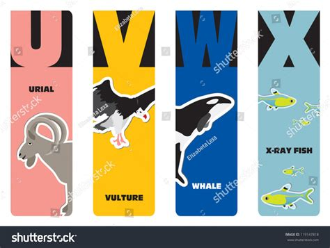 bookmarks animal alphabet u for urial v for vulture w