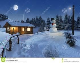 log house in a winter christmas scene stock illustration