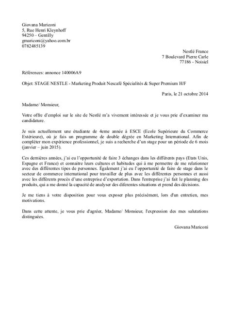 Exemple Lettre De Motivation Ecole De Commerce Master Lettre De Motivation