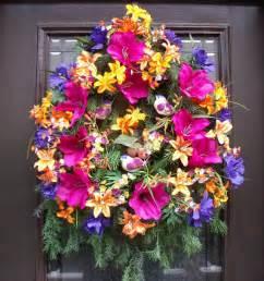 Front Door Wreaths For Summer Summer Wreaths Door Wreath Front Door Decoration Colorful