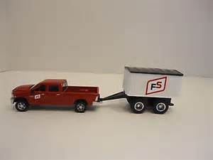 64 ertl farm toy pick up truck red ram with fs pup trailer custom