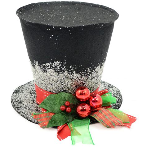 7 quot black felt christmas holly top hat decoration 3119040