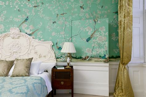 mint green schlafzimmerdekor peonies and orange blossoms chic chinoiserie wallpapers