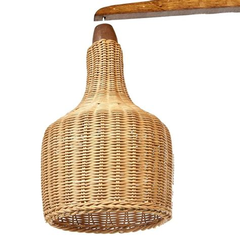 Mid Century L Shade by Mid Century Wall Mounted L With Wicker Shade At 1stdibs