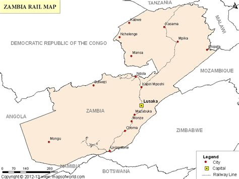 printable map of lusaka zambia rail map