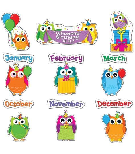 birthday bulletin board templates colorful owls birthday bulletin board set owl classroom