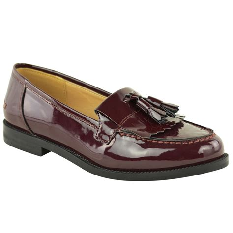 womens tassel loafers womens flat casual office patent faux leather