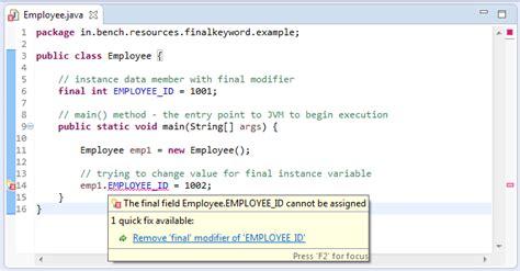 java tutorial final keyword java final keyword benchresources net