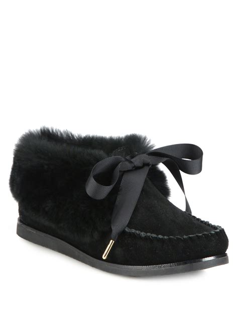 tory burch house shoes tory burch aberdeen fur trimmed suede slippers in black lyst