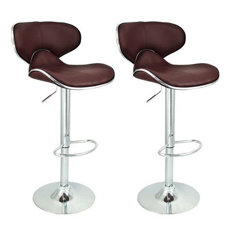 2 Modern Barstool Swivel Leather Adjustable Hydraulic Kitchen Chairs Swivel