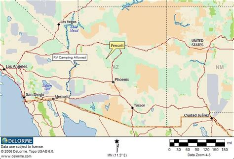 map of arizona prescott free rv cing prescott arizona