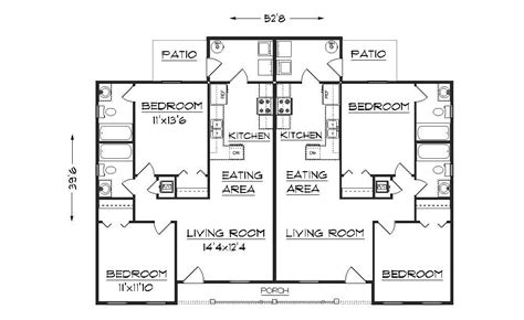 duplex layout simple small house floor plans duplex plan j891d floor