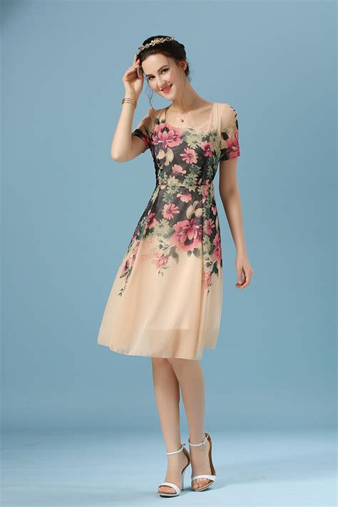 30263 Sleeve Floral Dress wholesale clothing floral printing sleeve pink chiffon dress