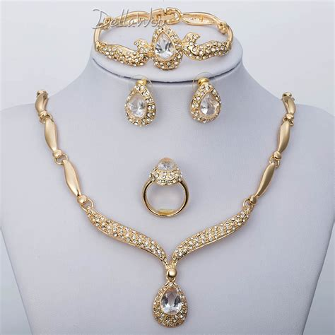 womens gold plated costume jewelry sets