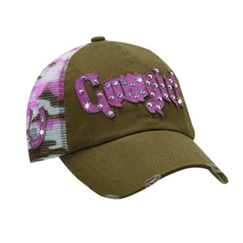 womens brown pink camo mesh rhinestone hat 1594802