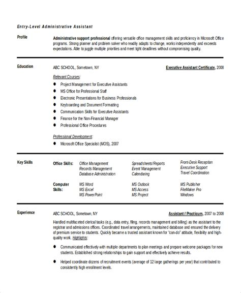 Entry Level Officer Resume Templates by Entry Level Administrative Assistant Resume 7 Free Pdf