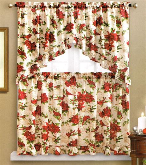 red swag kitchen curtains benson mills holiday cardinal kitchen curtain swag tiers