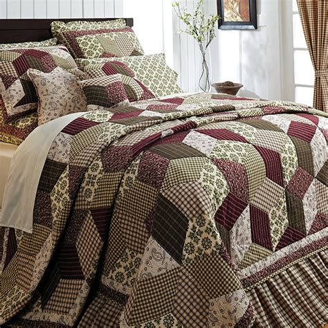 California King Quilt Bedding by Burgundy Green Country Paisley Block Cal King