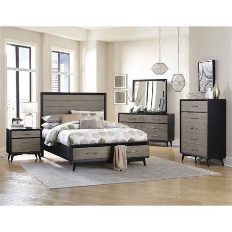contemporary gray  black  piece queen bedroom set raku rc willey furniture store