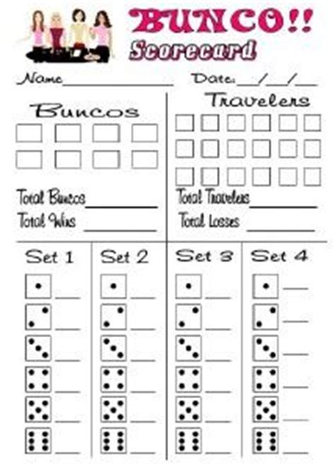 bunco template score cards 17 best images about bunco on bunco themes