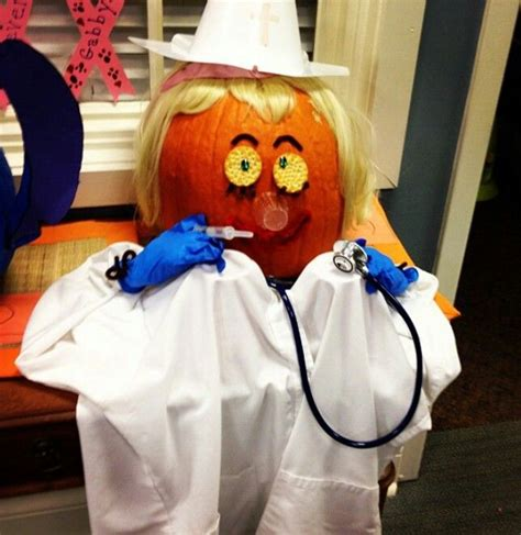 Nurse Party Decorations Halloween Decorated Pumpkin Medical Office Nurse Dr