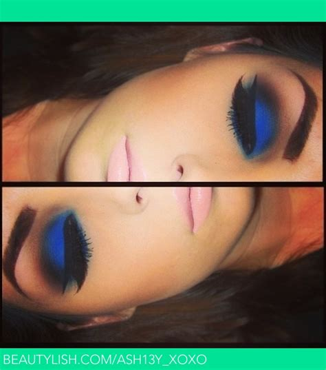 Best Makeup Vanity Bold Blue Eyeshadow And Pale Pink Lip Ashley S S