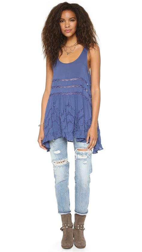 Dress Tunik Denim Free Belt Kemeja Dress Denim lyst free trapeze tunic dress denim blue in blue