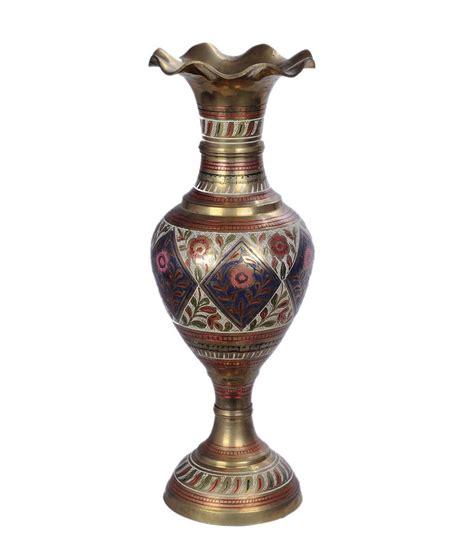 Brass Flower Vases by Mdc Designer Brass Flower Vase With Embossed Print Buy