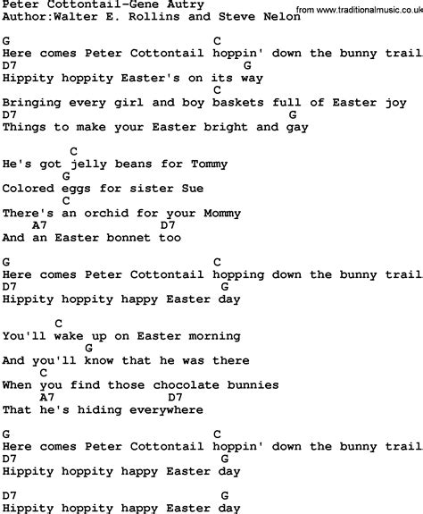 printable lyrics here comes peter cottontail download peter cottontail gene autry lyrics and chords as